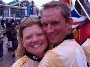 Canada's Adventure Couple at The Finish Line of the Tour d'Afrique