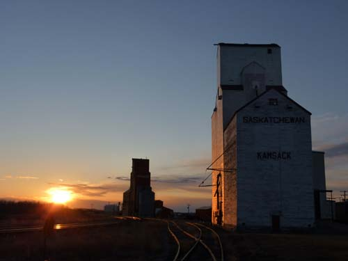 Sunset Near the Old Grain Elevators