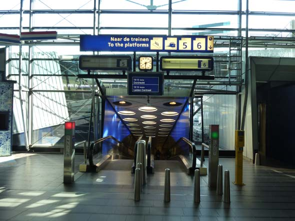 Escalators to the Train Platform from the Airport in Amsterdam