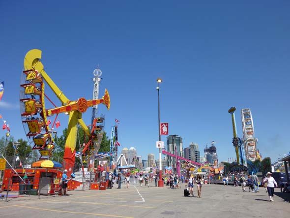 Calgary Stampede midway early in the day before the crowds arrive.