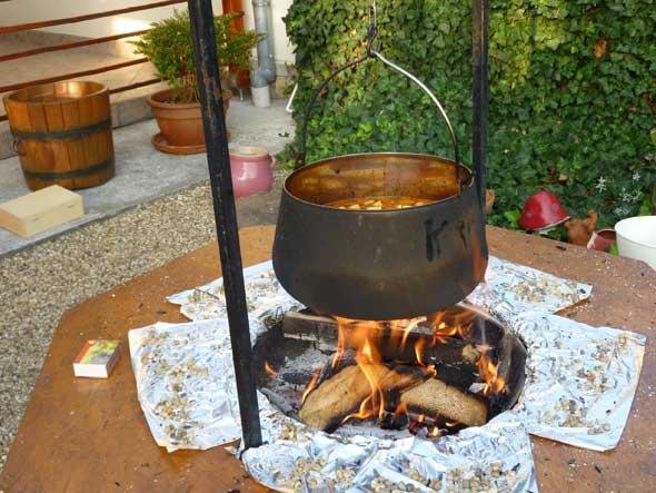 Hungarian Goulash on an Open Fire