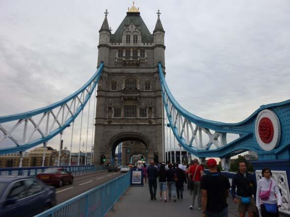 Walking across Tower Bridge