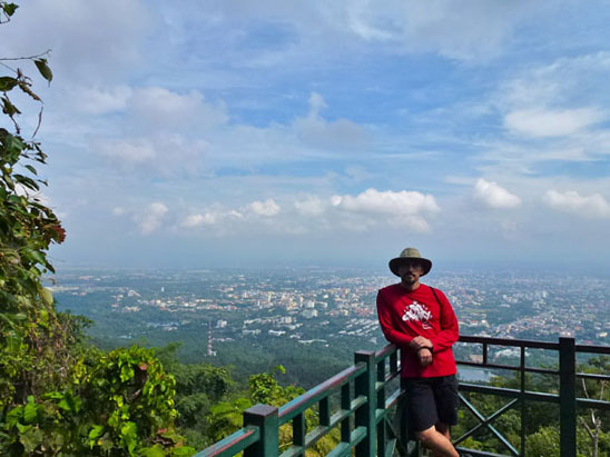 the view of chiang mai half way Hiking Doi Suthep in Chiang Mai